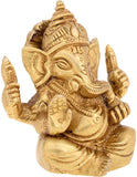 Divya Shakti Brass God Of Luck Lord Ganesha Sitting Idol IN 3 INCH ( Religious item )