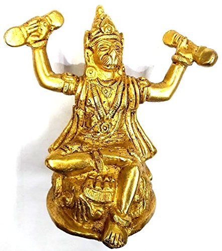 Divya Shakti God Hanuman Singing Hymns - Handmade Brass Sculpture - Religious Figurine - 4 x 2.5 x 1 Inches ( 250 GM ) diwali gifts 4 all ( Religious item )
