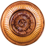 Divya Shakti Handmade Hindu Copper Puja Thali - Engraved Om Symbol and Gayatri Mantra - Religious Gifts - Diameter 10.5 Inch, For Diwali and Festival Gifts ( Religious Item Pooja Thali )