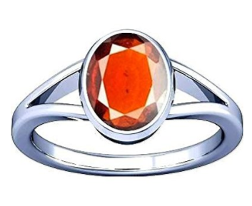 Divya Shakti 5.25 - 5.50 Ratti Hessonite ( GOMED STONE RING )( Made in Silver ) 100 % ORIGINAL GEMSTONE AAA QUALITY