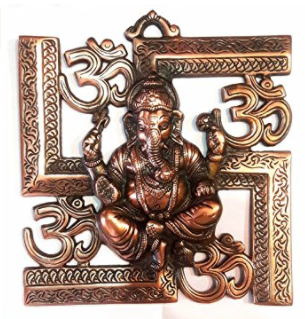 Divya Shakti Wall Hanging Of Lord Ganesha on Swastik with Om Showpiece ( 9 Inch ) Religious gift item
