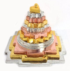 Divya Shakti Mix Metal Meru Shree Yantra For Prosperity and Luck ( Small size ))