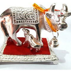 Divya Shakti Lucky White metal Idol Of wish Cow with Calf Kamdhenu ( Religious gift )