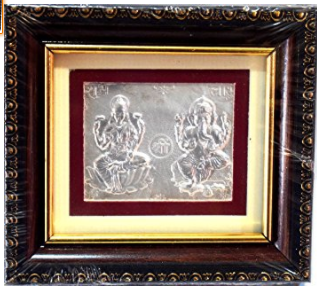 Divya Shakti 99.9% Silver Lakshmi Ganesh Photo Frame in 4 x 4 inches For Diwali Pooja , Dhanteras ( Gift and pooja item )