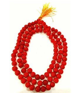 Divya Shakti Natural Red Coral Rosary  / Pagadam / Moonga Mala 108+1 beads ( 8 mm )