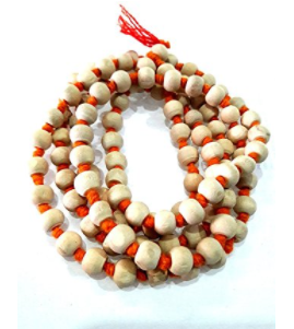 Divya Shakti 100% Original White Tulsi Mala 108+1 Beads ( 6 MM )