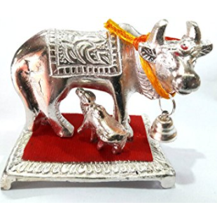 Divya Shakti Lucky White metal Idol Of wish Cow with Calf Kamdhenu ( Religious gift ) 5.5'''
