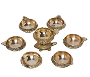 Divya Shakti Vastu Diya Kachhua Diya Kuber Deep Set Diwali Pooja Item - Deepawali Lighting Brass Oil Diya Diwali Decoration Pooja Item and Home Decor Item Festival Gift Item Set of 7