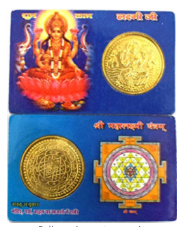 Divya Shakti Chamatkari Maa Lakshmi Card Yantra For Purse, Car, Office and Home ( Religious gift item )