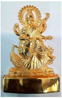Divya Shakti Indian Goddess Maa Saraswati Bust Figurine - Handcrafted Metal Figurine Religious Decorative Gift - 4.5 x 3 x 0.5 inches ( Religious gift item )