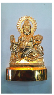 Divya Shakti Indian God Lord Kuber Bust Figurine - Handcrafted Metal Figurine Religious Decorative Gift - 4.5 x 3 x 0.5 inches ( Religious gift item )