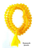 Divya Shakti Yellow Agate Hakik Japa Mala 108 + 1 Beads ( 7 mm )
