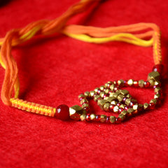 Pital Rakhi Combo: Deep Orange & Yellow
