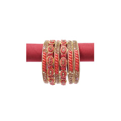 Traditional fashionable maroon artificial bangles & kada set