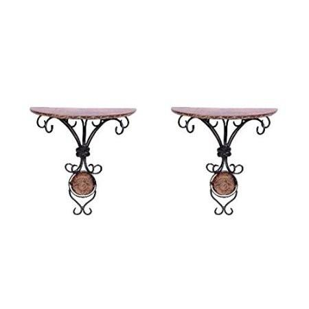 Desi Karigar wood & wrought iron hand carved big wall bracket set of 2