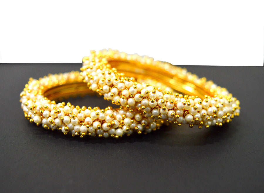 Pearl Gold Antique Bangles