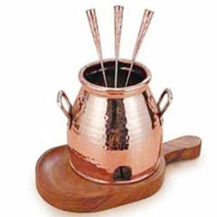 COPPER TABLE TANDOOR WITH WOODEN BASE AND 3 STICKS