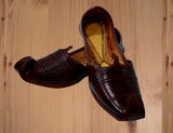 Brown Leather Covered Tip Jutti for Men