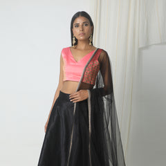 Black silk blend pink gold zari lehnga set with gold lace highlight