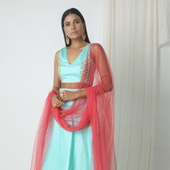 Powder blue gold zari lehenga set