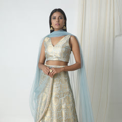 Grey silk brocade with gold lace lehenga set