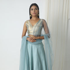 Grey chanderi gota border skirt-blouse-dupatta lehenga set