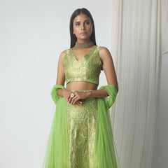 Chartreuse green with gold lace highlight brocade lehenga set
