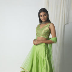Chartreuse green gold chanderi gota skirt- brocade blouse with dupatta