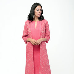 Peach Gota Jacket Set
