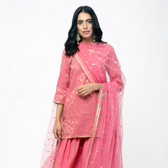 Peach Short Kurta Set