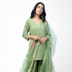 Green Short Kurta Set