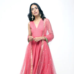 Peach Gota Dress Set