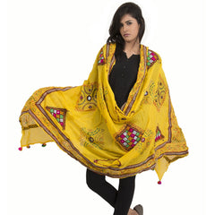Kutchi Trikon lemon yellow Dupatta