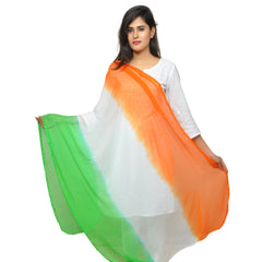 Banjara India Women's Soft Chiffon Solid Dupatta (TRG-Border) Tricolour - SuperTiranga