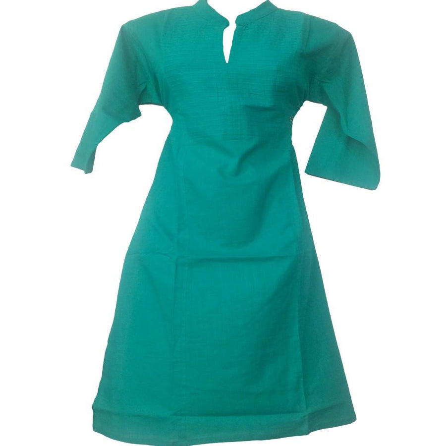Teal blue Cotton Plain Kurti