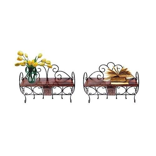 Desi Karigar Wooden & Wrought Iron Wall Bracket | Book Rack | Cloth Hanger Set of 2