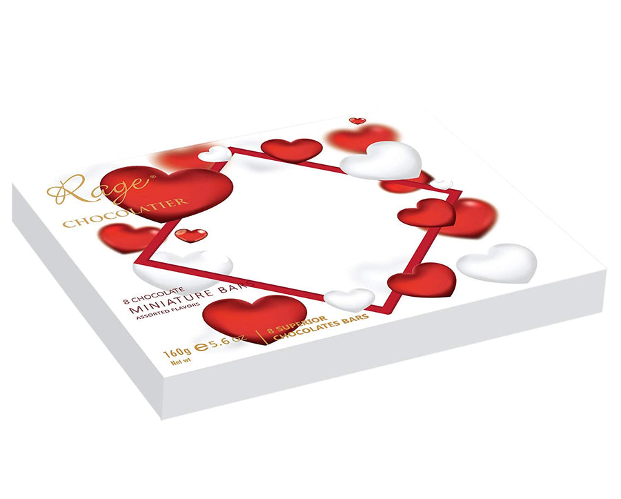 Rage Miniature Bars Chocolate White Box with Hearts
