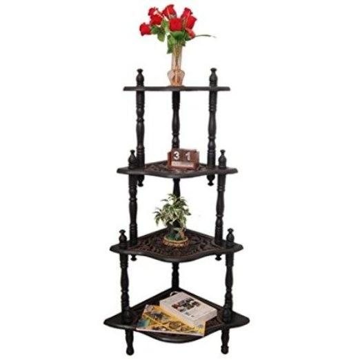 Desi Karigar Wooden 4 Shelves End Table/Side Corner