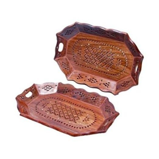 Desi Karigar Wooden Fancy Design Serving Tray Set Of 2