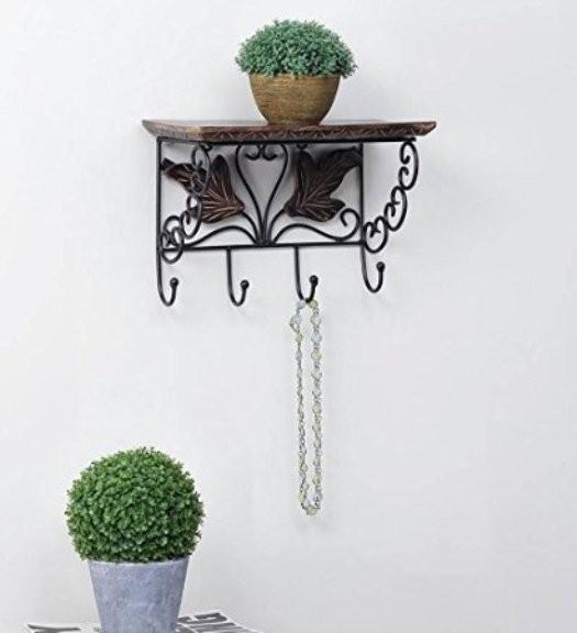 Desi Karigar Wooden & Wrought Iron Wall Bracket |  Cloth Hanger