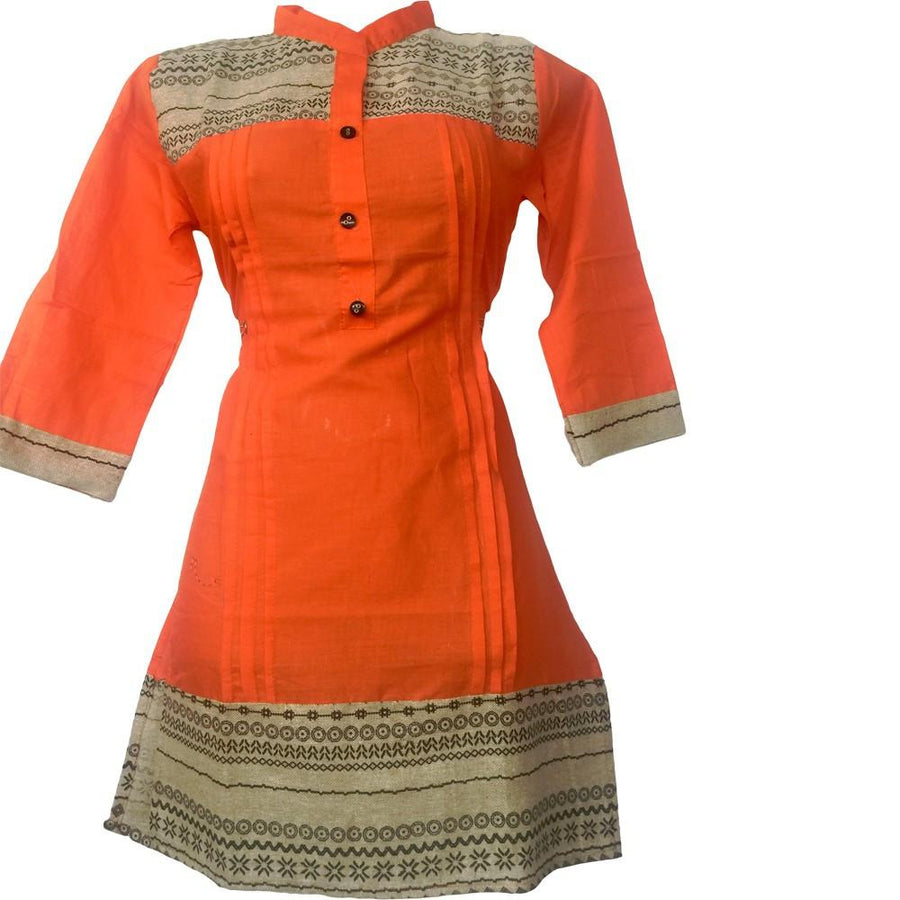 Orange Jute Designer Short Kurti
