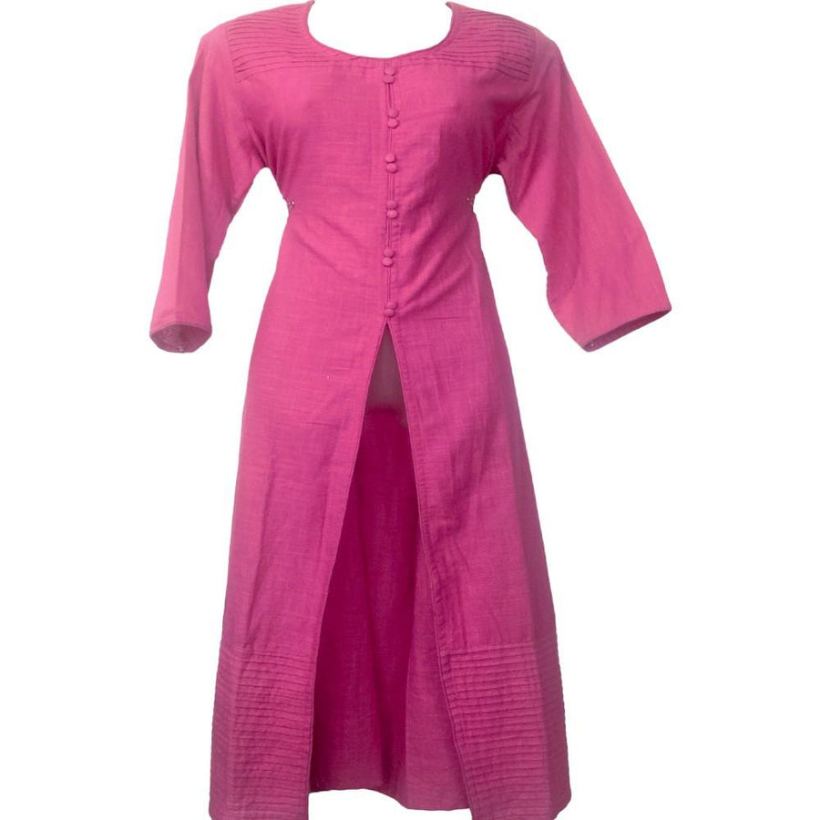 Pink Full Sleeves Long Cotton Kurti
