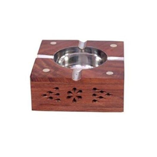 Desi Karigar Wooden Premium Quality Antique Ashtray With Brass Inlay