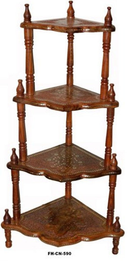 Desi Karigar Wooden 4 Shelf Foldable Corner Rack