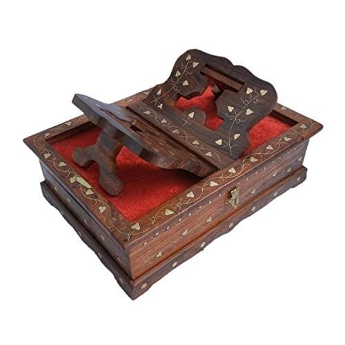 Desi Karigar WOODEN HAND CARVED HOLY BOOK STAND AND BOX WITH BRASS WORK FOR QURAN,BIBLE,GITA,VED ,GURU GRANTH SAHIB