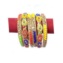 Artificial Bangles & Kada Set 6pcs - Multi Colors Mix