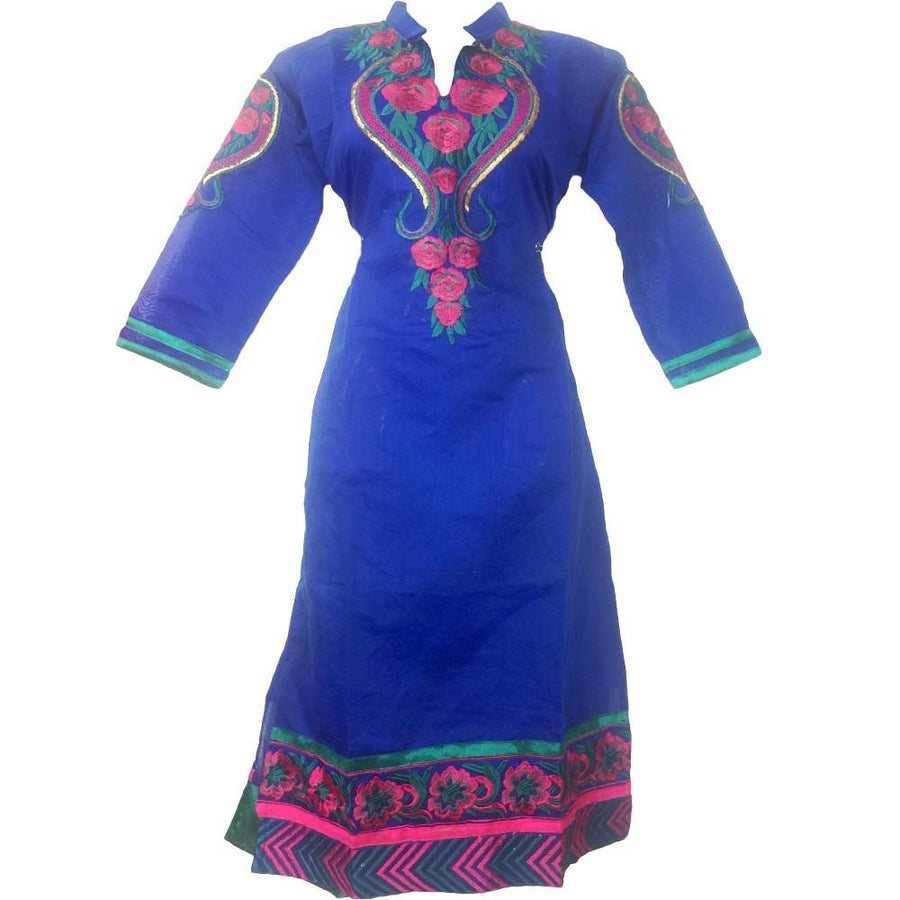 Royal Blue Embroidery Kurti