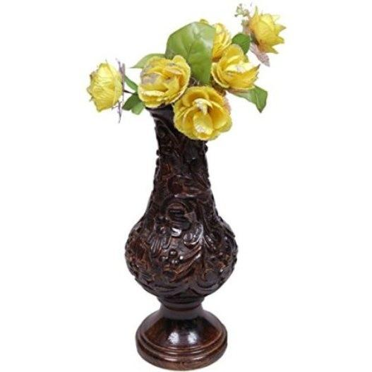 Beautiful Wooden Antique Hand Carved Flower Vase