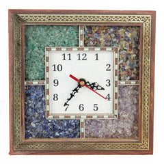 Antique Handcrafted Gemstone Wooden Wall Clock (HCFHW104)