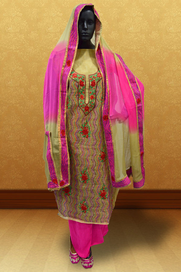 Light Pink Phulkari Suit